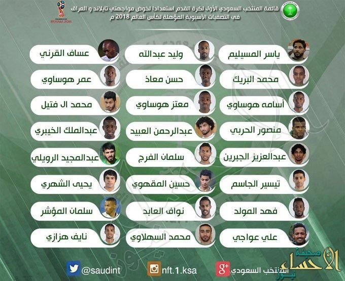 #مارفيك يعلن قائمة #المنتخب لمباراتي تايلاند والعراق لتصفيات كأس العالم 2018