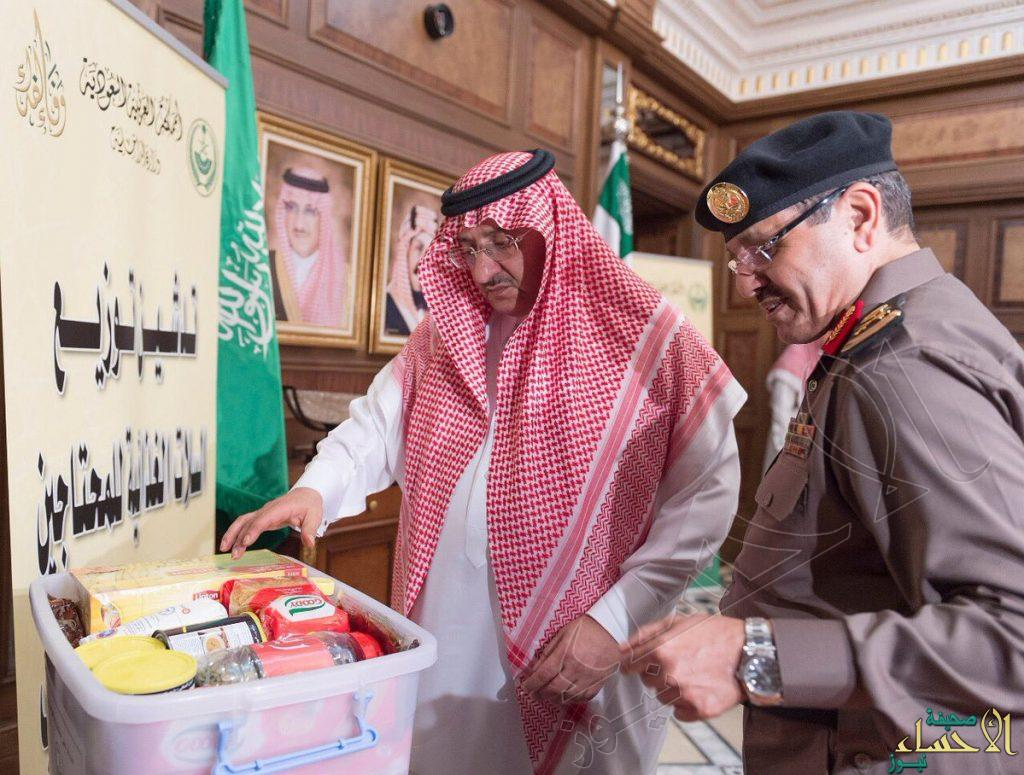 """بالصور.. ولي العهد يدشن حملة توزيع """"سلال غذائية"""" صدقة عن """"شهداء الواجب"""""""