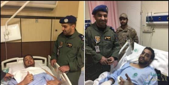 صور متداولة للطيارين السعوديين بعد نجاتهما من حادث سقوط طائرة باليمن