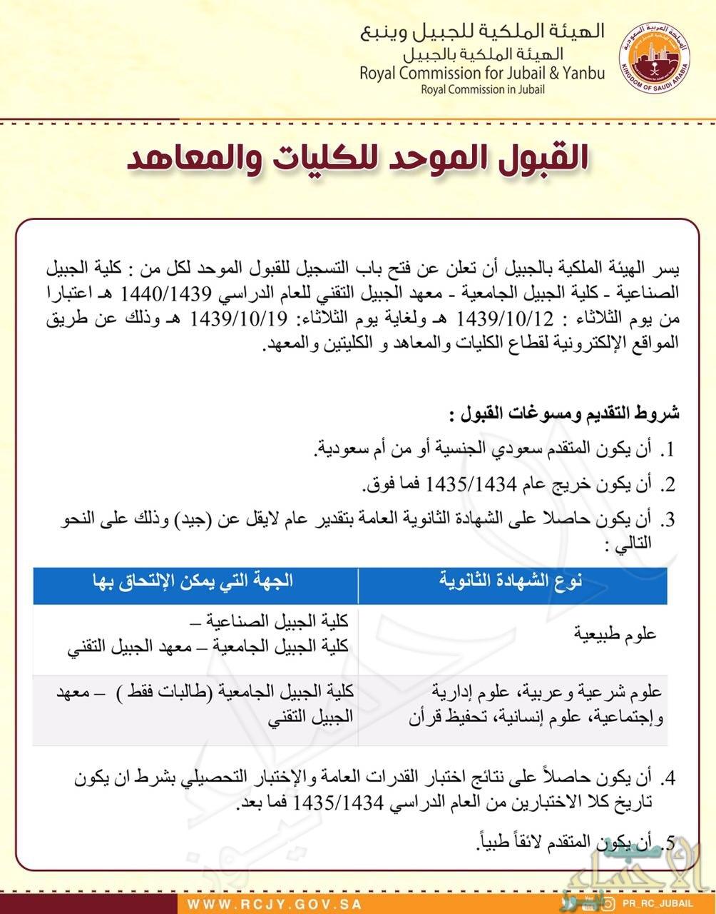 فتح باب التسجيل الموحد لكليات ومعاهد الهيئة الملكية بالجبيل صحيفة الأحساء نيوز