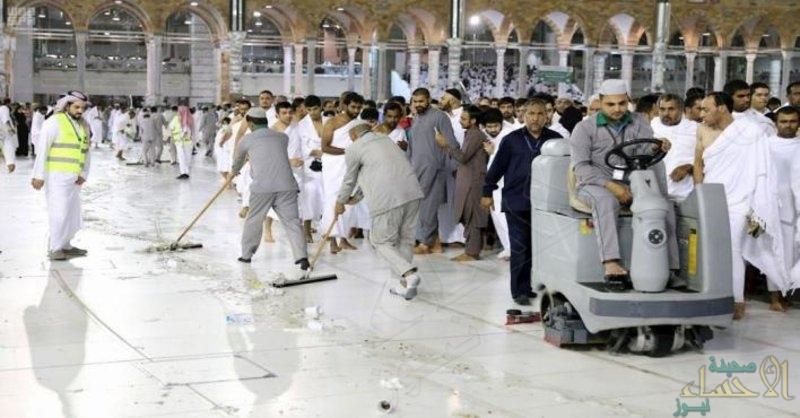 """في 9 دقائق و47 ثانية .. """"رئاسة الحرمين"""" تسجل رقمًا قياسيًّا في غسل المطاف ليلة 27 رمضان"""
