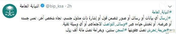النيابة السعودية: السجن سنتين وغرامة 100ألف ريال عقوبة رسائل التحرش