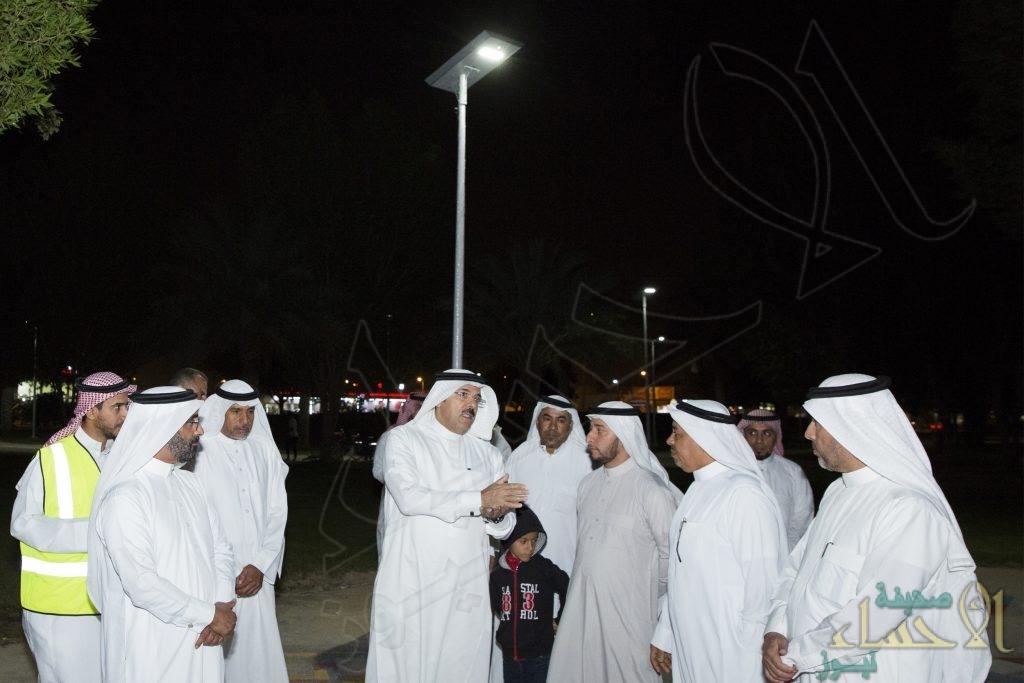 """أمانة الاحساء تُطلق التشغيل الفعلي لإضاءة المرافق العامة بـ""""الطاقة الشمسية"""""""