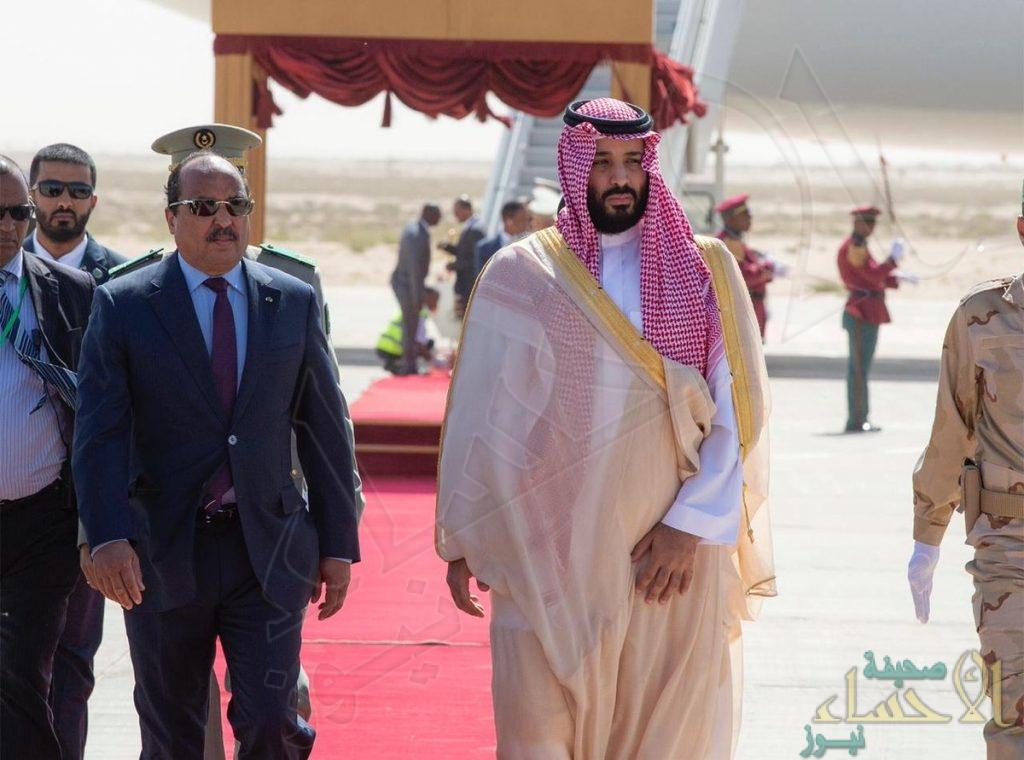 """شاهد.. """"ولي العهد"""" الأمير محمد بن سلمان يصل إلى موريتانيا ضمن رحلته للدول العربية"""