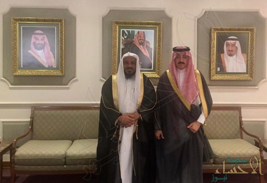 """رئيس هيئة الأمر بالمعروف بالأحساء يزور سمو الأمير """"بدر بن محمد"""""""