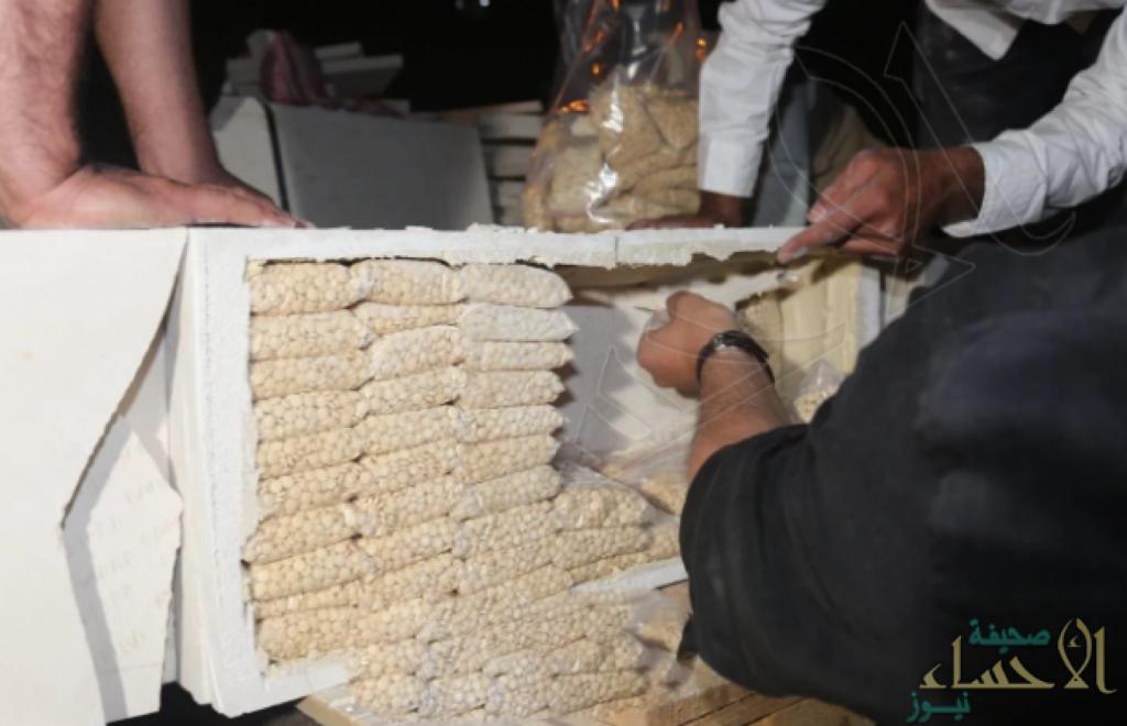 بالصور.. تفاصيل ضبط «شحنة كبيرة» من الحبوب المخدرة قبل وصولها للمملكة