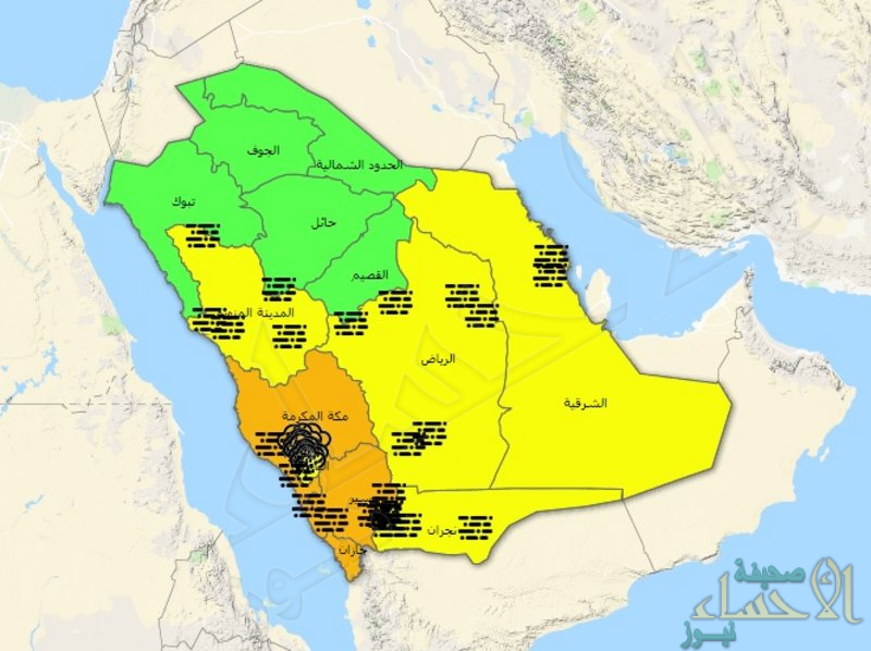 """الإنذار المبكر ينبه 7 مناطق بينها """"الشرقية"""": أمطار رعدية ورياح وأتربة"""