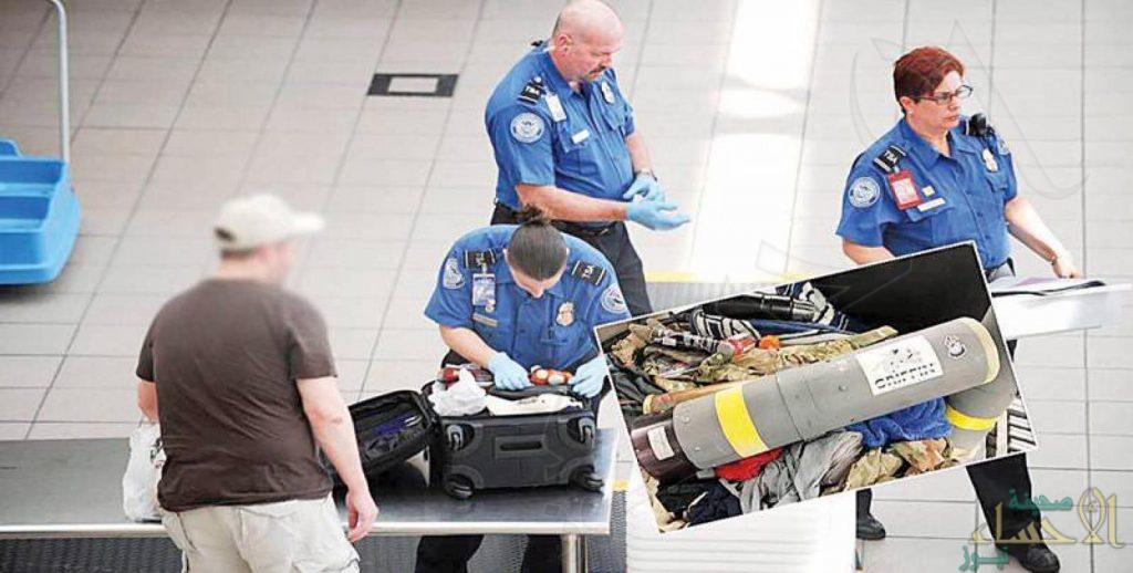 بالصور .. ضبط قاذفة صواريخ داخل حقيبة مسافر قادماً من الكويت