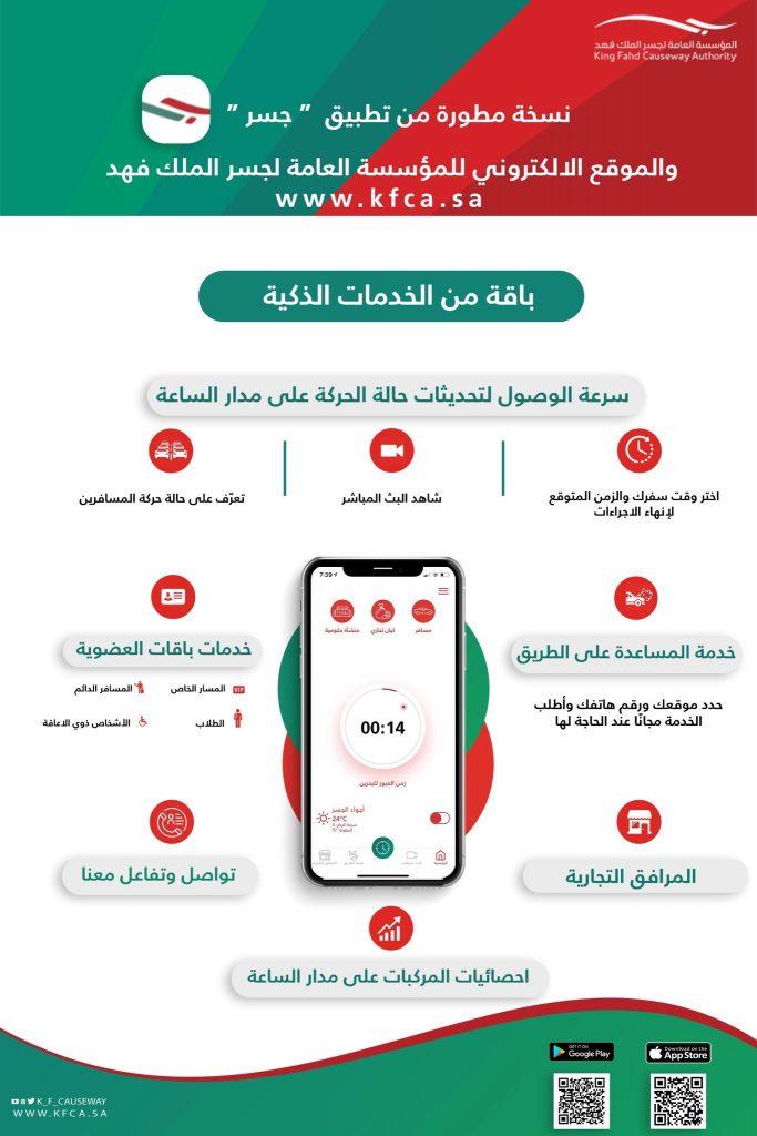 """بعدد من الخدمات .. """"جسر الملك فهد"""" يطلق تطبيق وموقع إلكتروني جديد"""