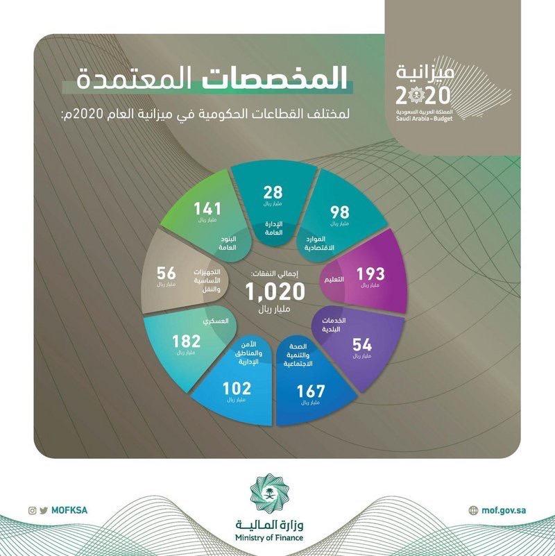 تعرَّف على المخصصات المعتمدة للقطاعات الحكومية في ميزانية 2020