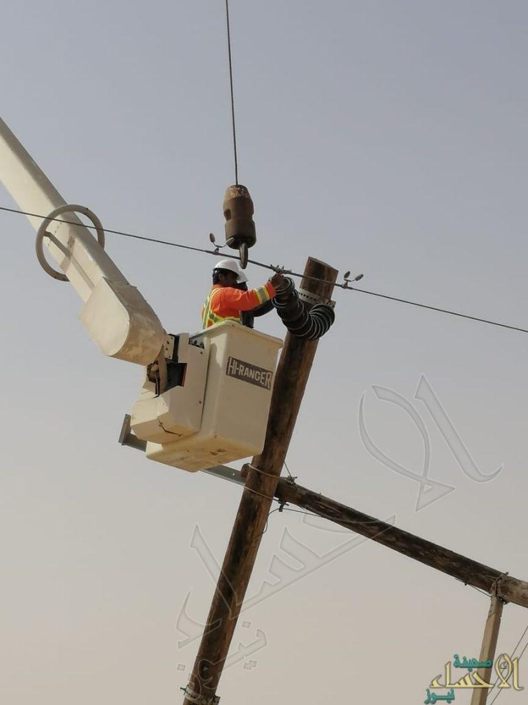 شاهد .. الكهرباء: صقورنا تعمل ليلًا ونهارًا لاستبدال أعمدة أسقطتها العواصف بالأحساء