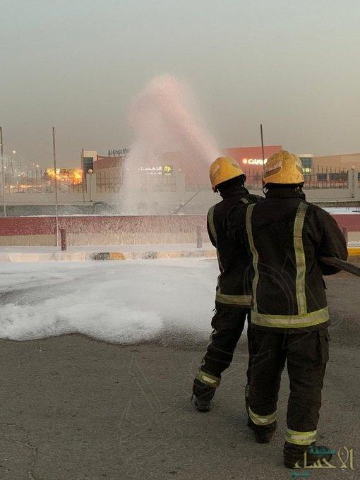 """في الأحساء .. حريق """"خزان"""" محطة وقود و""""الدفاع المدني"""" يتدخل"""