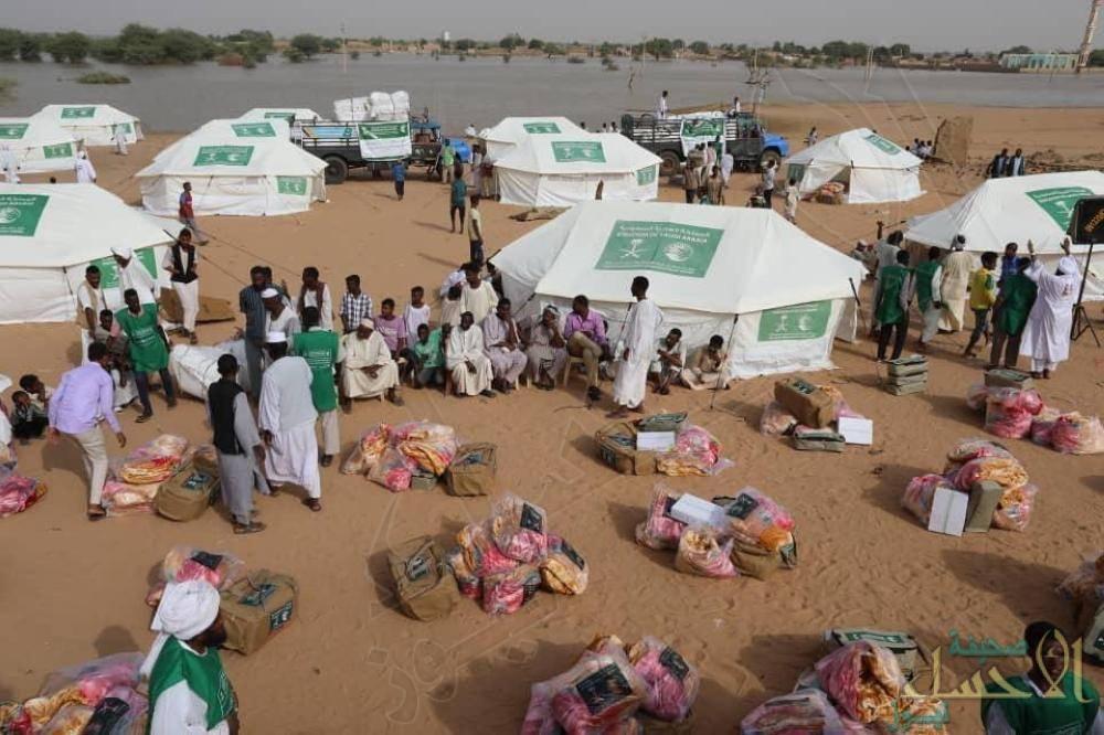 558 خيمة إيوائية مساعدات سعودية لمتضرري السيول بالسودان