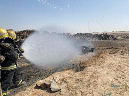 """""""الدفاع المدني"""": إخماد حريق سكراب في أرض فضاء بالأحساء"""