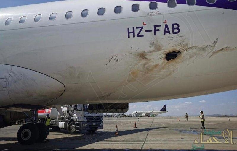 """صور أولية لإصابة الطائرة التي استهدفت مطار أبها .. و""""تحالف دعم الشرعية"""" يتعهّد باتخاذ اللازم لحماية المدنيين والأعيان"""