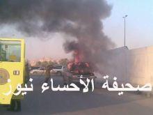 إندلاع حريق صباح اليوم بسيارته من نوع يوكن 2003 بمدينة العيون ونجاة سائقها وأبنه  ( مرفق صور حصرية ) .